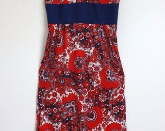 Lovely Vintage 1960s 1970s Maxi Dress 12 Oriental Psychedelic