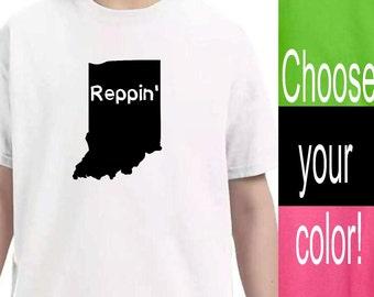 Youth Clothing, Indiana State Shirt, Kids Toddler Shirts, Baby Onesie, Unisex kids, Pink Lime Green Black White Vinyl Shirts, Kid tshirt