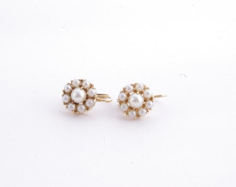 Vintage 14K Yellow Gold Pearl Cluster Drop Earrings