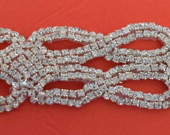 "Crystal Rhinestone Trim by the Yard-Wholesale Silver Bridal Trim- rhinestone banding-2  "" Crystal Trim -Rhinestone Applique"