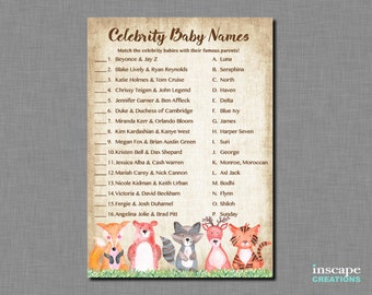 Woodland Baby Shower Celebrity Name Game Match Rustic Country Boy Girl Gender