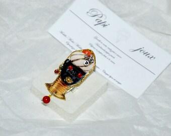 Ring large thick paper handmade Venetian inspired Moretti