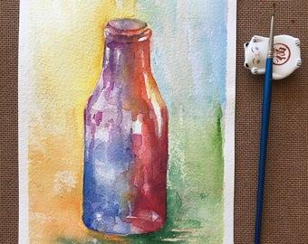 Watercolor Bottle Painting, Original Watercolor Painting, Colorful Art, Home Decor, Gift, A5, red blue purple orange, colorful bottle,decor