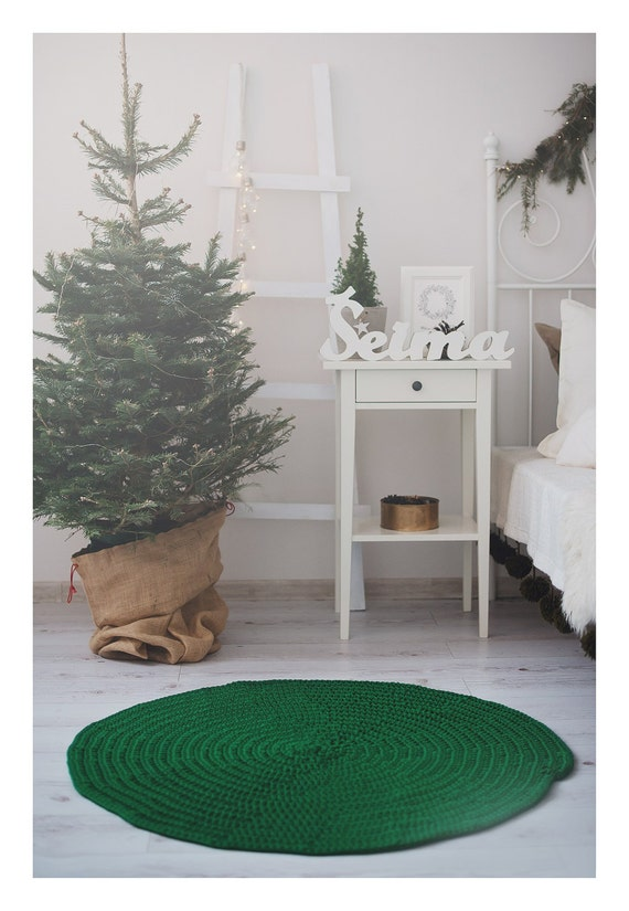 Nursery decor, rope rug, green carpet, berber carpet, kids room decor, nursery rug, 83 cm - 33 inch round crochet carpet, housewarming gift