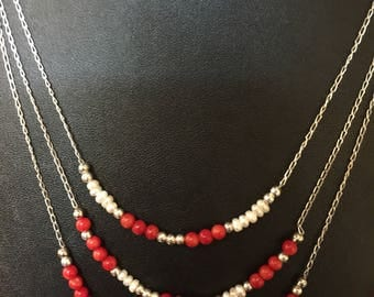 Three Strand Sterling Silver Chain with beaded bamboo coral and fresh water pearls