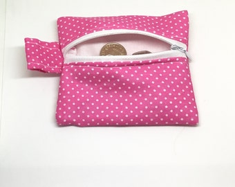 Small coin pouch, coin purse, change purse, money pouch, zipped pouch, pink polka dot pouch, change pouch, keychain pouch, gift for her