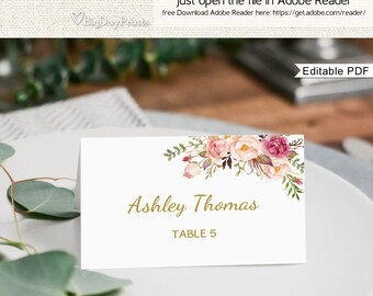 Place Card Template, Printable Place Card, Seating Cards, Table Numbers, Place Cards, Fits to #A010, Editable PDF-you personalize at home.