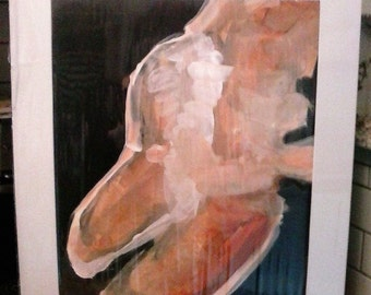 """Vermont Artist/Painter Stanley Brostoski Original Painting  """"Bather"""" Signed and Sealed Abstract Painting of a Woman Bather"""