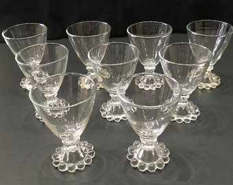 "Set of 9 Small Wine Glasses Vintage Candlewicking Pattern on Bases 4"" Tall Clear Glass"