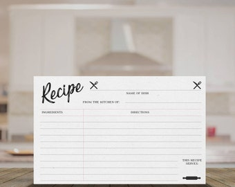 "Printable Recipe Cards - 3"" x 5"", 4"" x 6"", 5"" x 8"" - PDFs Provided"