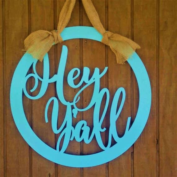 Door Hanger Metal Monogram Door Sign Hey by