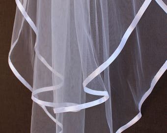 Beautiful Satin Ribbon Edge 2-Piece Veil