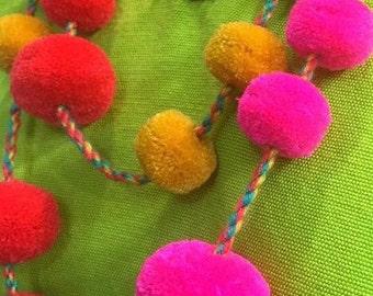Pom Pom Wrap Necklace