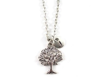 personnalized charm necklace, initial necklace, TREE necklace, personnalized jewel, charm neckalce, initial jewelry