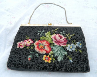 Vintage Black Beaded Purse Bag, Embroidered Needlepoint Floral Evening Bag, Special Occasion Evening Bag, Flowers, Wedding, Mother of Pearl
