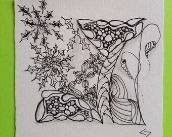 Snowflakes - Zen art Pen & ink drawing