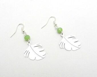 Earrings, leaves, filigree, pearls, glass, green, leaf