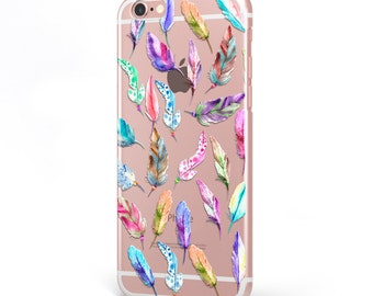 iPhone - Samsung Galaxy - TPU Soft Rubber Cell Phone Case - Colorful Feathers - High quality Soft Silicon-Designed and Printed in USA