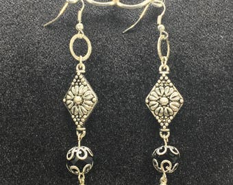 Antique Silver and Faceted Round Onyx Dangle Earrings