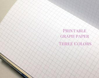 Printable Grid Paper Set: Blue, Gray, Pink