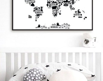 Animal World Map Print, Monochrome Nursery World Map, Oh The Places You'll Go, Kids World Map Poster, Black White Scandinavian Nursery Decor