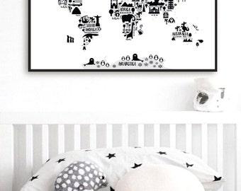 Animal World Map Print, Monochrome Nursery World Map, Oh The Places You'll Go, Kids World Map Poster, Black White Scandinavian Nursery Decor