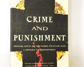 Crime and Punishment book.  Fyodor Dostoevsky.  Paperback circa 1992.  Great Classic Tragedy.  Literature Fiction.  College University.