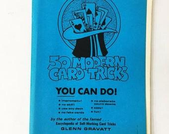 50 Modern Card Tricks You Can Do book.  Vintage Magic Book.  Vintage book  circa 1975.  Glenn G Gravatt.