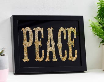 Hand Painted PEACE Zinc Leaf Personalised Gift Typography Contemporary Wall Art Birthday Gift Wedding Gift