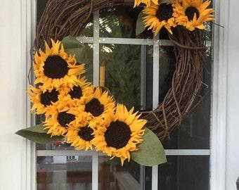 Handmade yellow felt sunflower wreath, home & living, home decor, sunflower arrangement, wall decor, wreaths, felt sunflowers, yellow flower