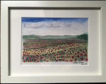 Poppy themed watercolour. Landscape.