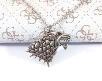 Game of Thrones Necklace, Stark, Necklace, GOT, House Stark, Pendant, Wolf Charm, Necklaces, Winter is Coming, Stark, Wolf Necklace pendant