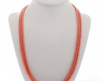 Navajo Jewelry Pink Heishi Necklace Angelskin Coral three Strands
