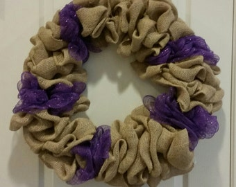 Burlap and purple deco wreath ready to customize. burlap wreath. purple wreath