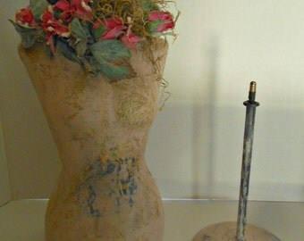 French Style Tabletop Paper Mache Mannequin Dress Form