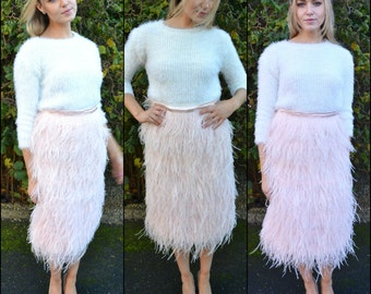 Ostrich feather skirt - 'Maxime' - Full soft ostrich feather skirt. Luxurious texture for weddings, formal events or street style.