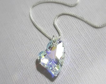 Swarovski Crystal Heart Necklace, Sterling Silver Necklace, Gift for Mom, Gift for Her, Valentines Gift, Girlfriend Gift, Bridesmaid Gift