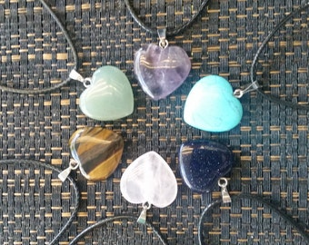 Crystal heart charm necklaces