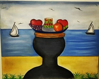 """Sea & land oil on canvas 20 """"x 16"""" inches. Works of art original"""