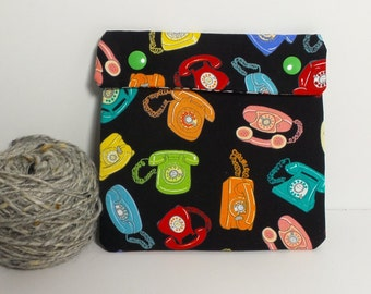 Circular Needle Case or Notions case for Knitting/ Crochet/ Fiber Arts/ Sewing; Vintage Telephones