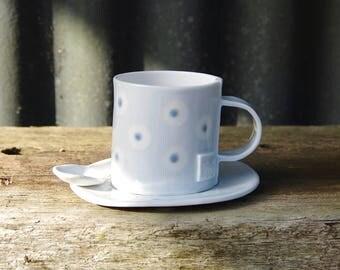 Espresso cup set, cup, saucer and spoon - Porcelain ceramic - Handmade