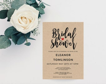 Printable Bridal Shower, Wedding Shower Template, Bridal Shower Invite, Bridal Shower Invitation, Wedding Shower Invitation, digital PDF