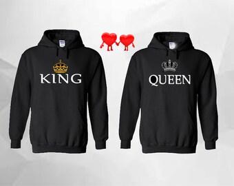 King Queen Hoodie King Queen Sweatshirt King Hoodie Queen Hoodie Couple Hoodie Couple Sweatshirt Couple Sweater Couple Hooded Black-Black