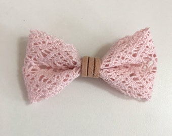 Pink crocheted ribbon bow/ with faux suede center/ ribbon bow/ crocheted ribbon bow/ available on nylon headband or alligator clip