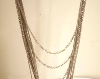 Fabulous Vintage Base Metal Multi-Stranded Chain Necklace