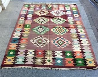 Kilim Rug, Anatolian Turkish Vintage Kilim Rug, Handwoven Kilim Rug