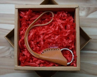 Red Label Leather Saddle Key Ring; Italian Vachetta Leather; Extendable; Silver Color Key Ring; Gift!