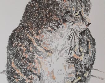Custom cat dog portrait - pet drawing Christmas Christmas gift personalized portrait of the cat dog DIN A4