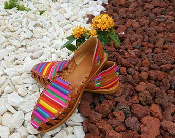 Multicolor Women's leather sandals. Mexican huarache sandals.