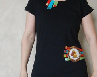 Dog Shirt - Dog T Shirt - Black TShirt - Funny T Shirts - Applique - Hand Painted T Shirt - For Women - Handpainted Shirt - Cute T Shirt